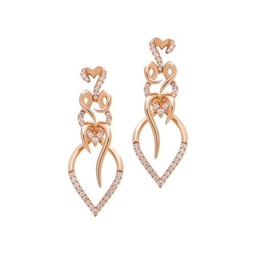 Entwine drop earrings rose