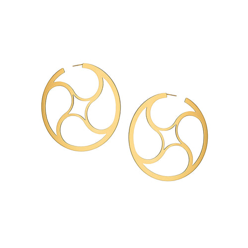Crop Circles Mystery Hoops Small Yellow Gold