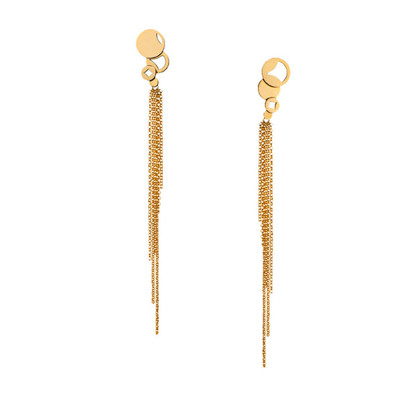 Crop Circles Fringe Earrings Yellow Gold