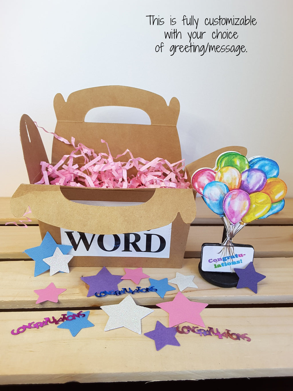 3-D bouquet of watercolor balloons greeting card, gift gable box, and confetti