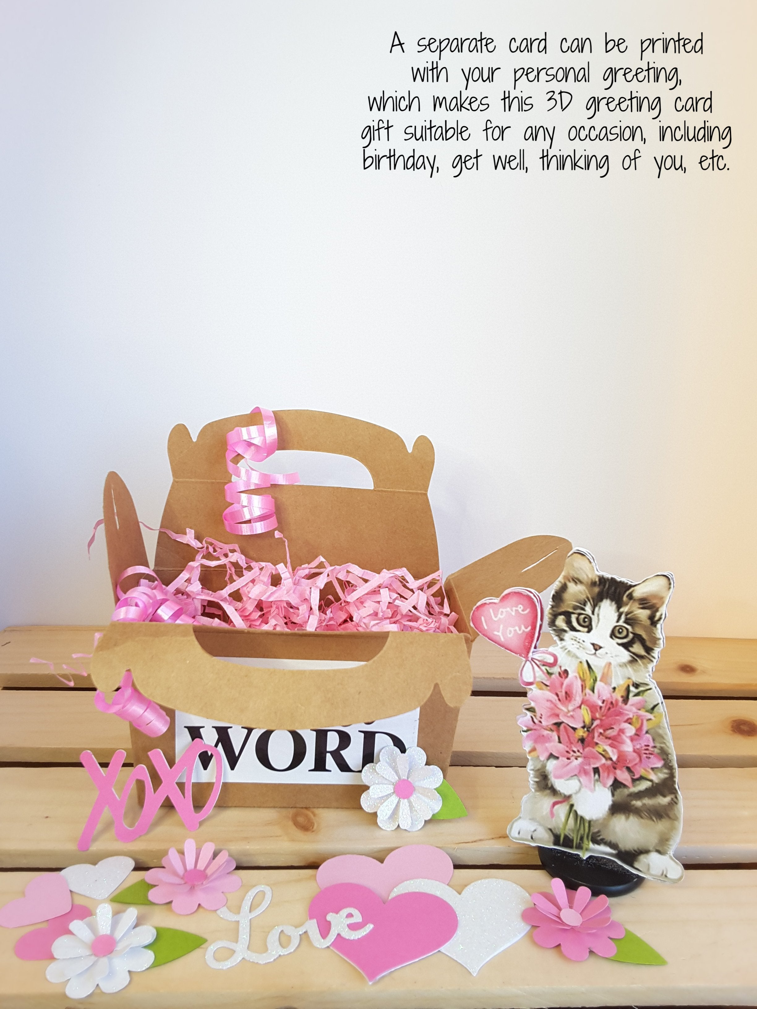 3-D kitten with flowers, gift box and confetti