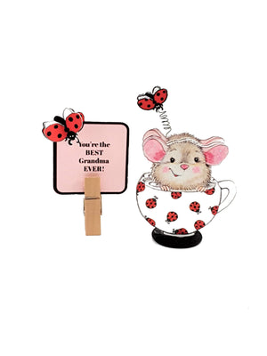 Mouse in a Teacup 3D All Occasion Greeting Card - TheLastWordBish.com