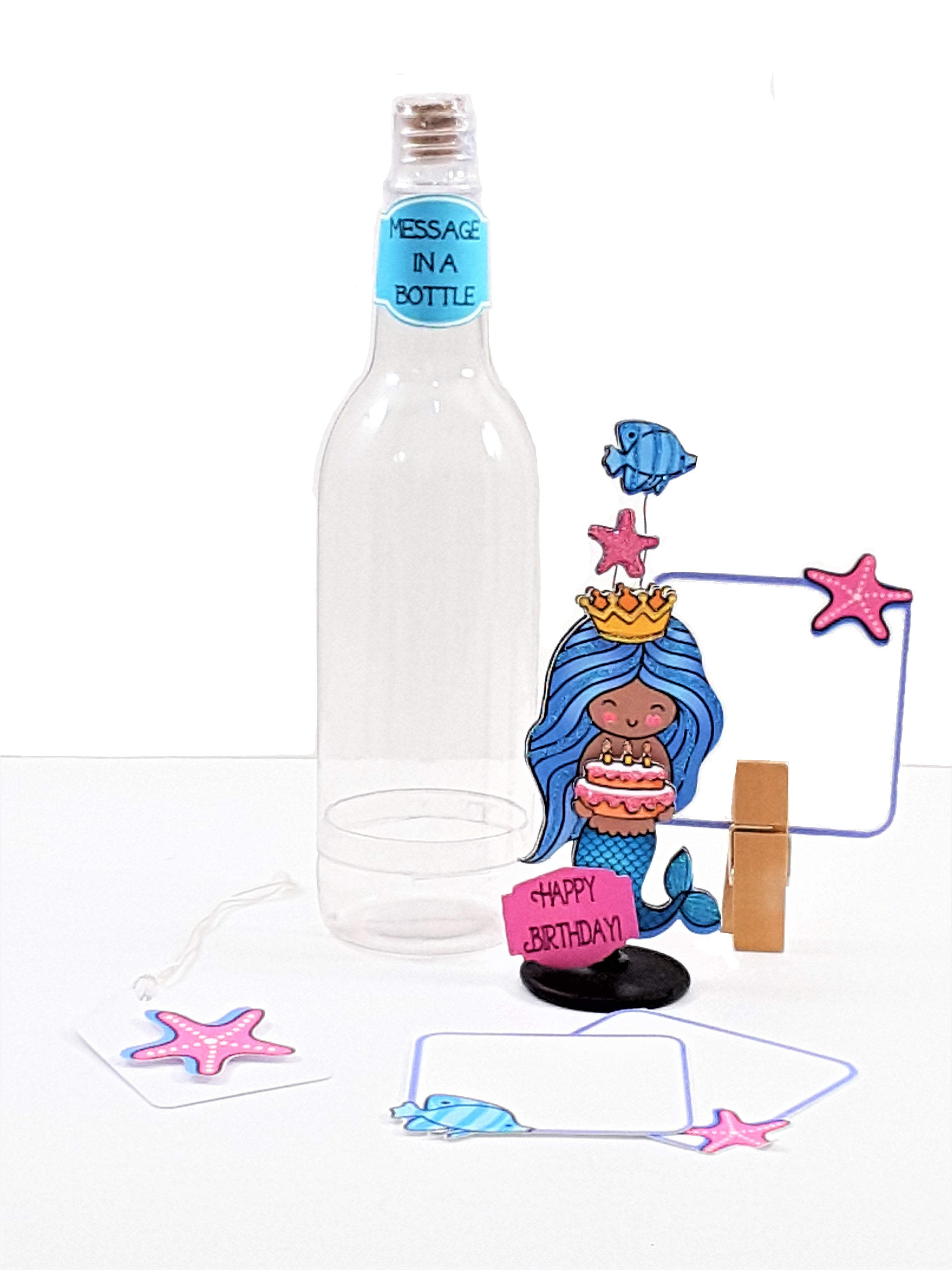 Personalized Message in a Bottle 3D Mermaid Happy Birthday card - TheLastWordBish.com