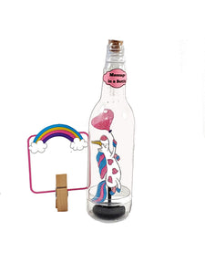 Stand-up Personalized Glittered Unicorn Card Message in a Bottle - TheLastWordBish.com
