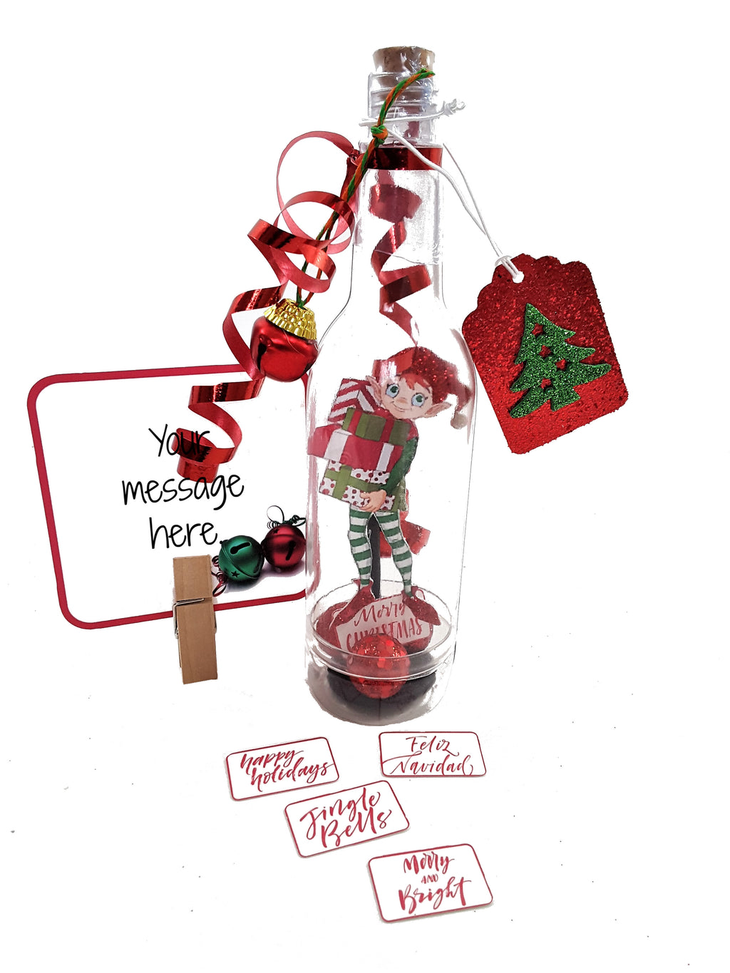 Message in a Bottle Christmas Elf Stand Up Greeting Card - TheLastWordBish.com