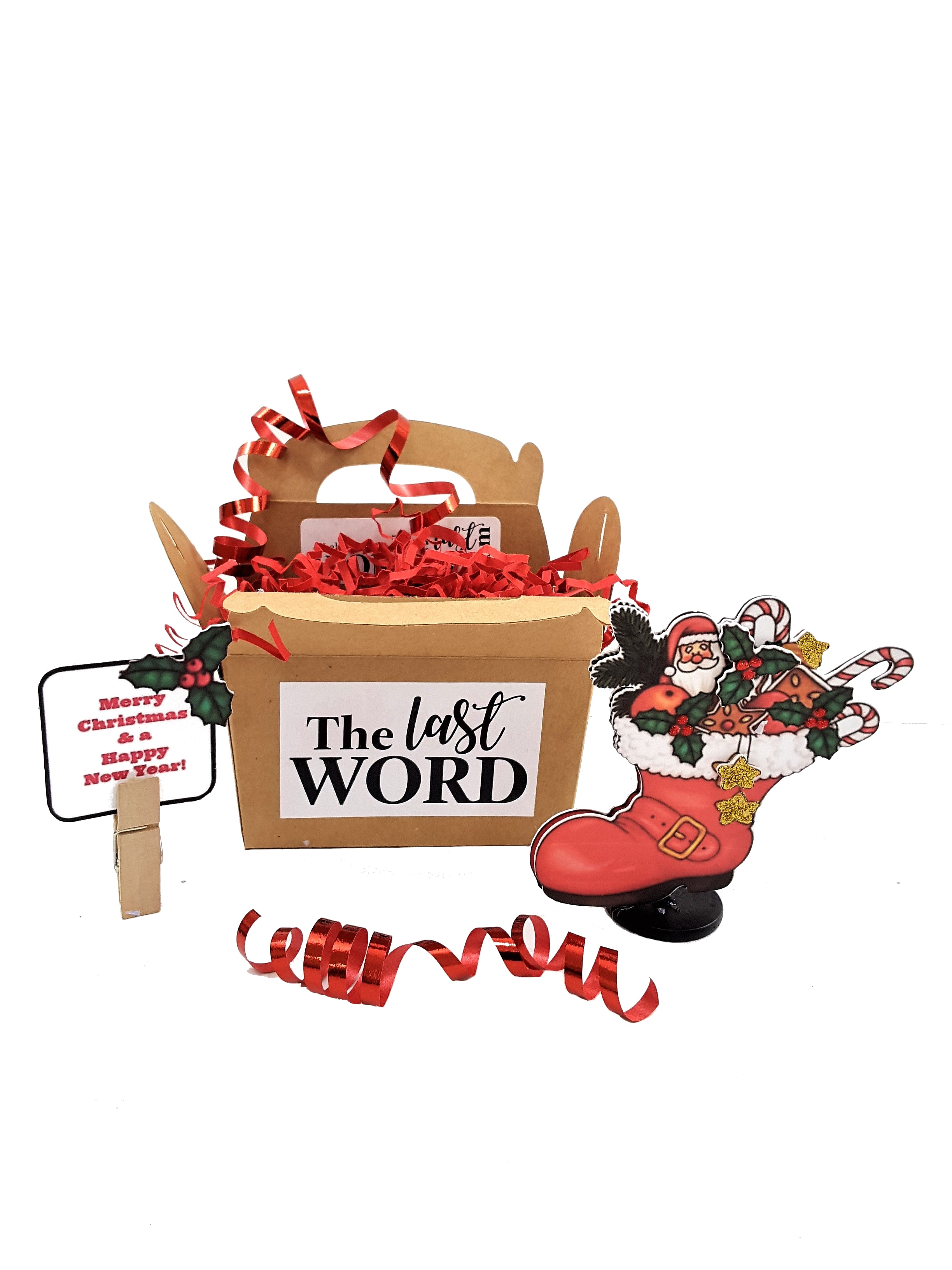 3D CHRISTMAS GREETING CARD WITH SANTA'S BOOT AND BOX