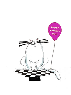 Happy Mother's Day Personalized 3D Card of Grinning Cat - TheLastWordBish.com