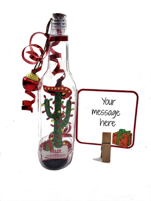 3D CHRISTMAS CACTUS IN A BOTTLE GREETING CARD GIFT