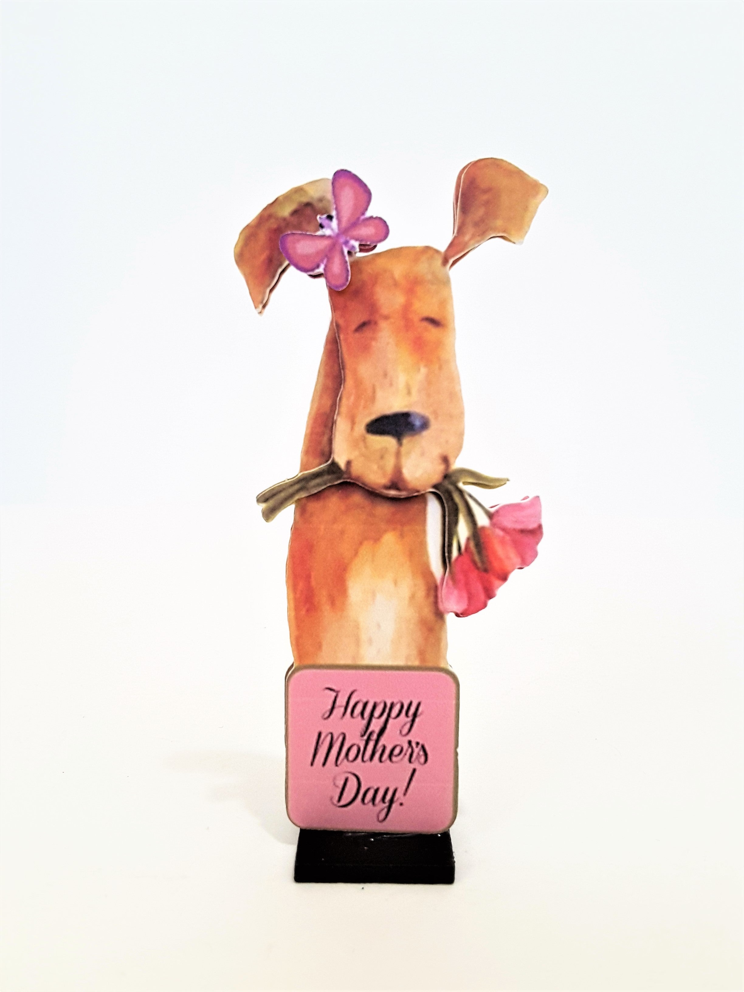 Message in a Bottle Personalized 3D Happy Mother's Day Card with Dog - TheLastWordBish.com