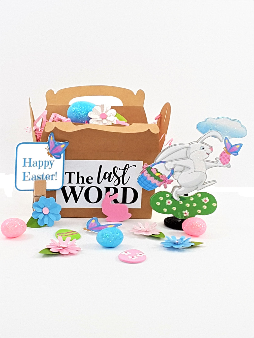 Skipping Bunny Rabbit 3D Easter Card - includes candy & other goodies! - TheLastWordBish.com