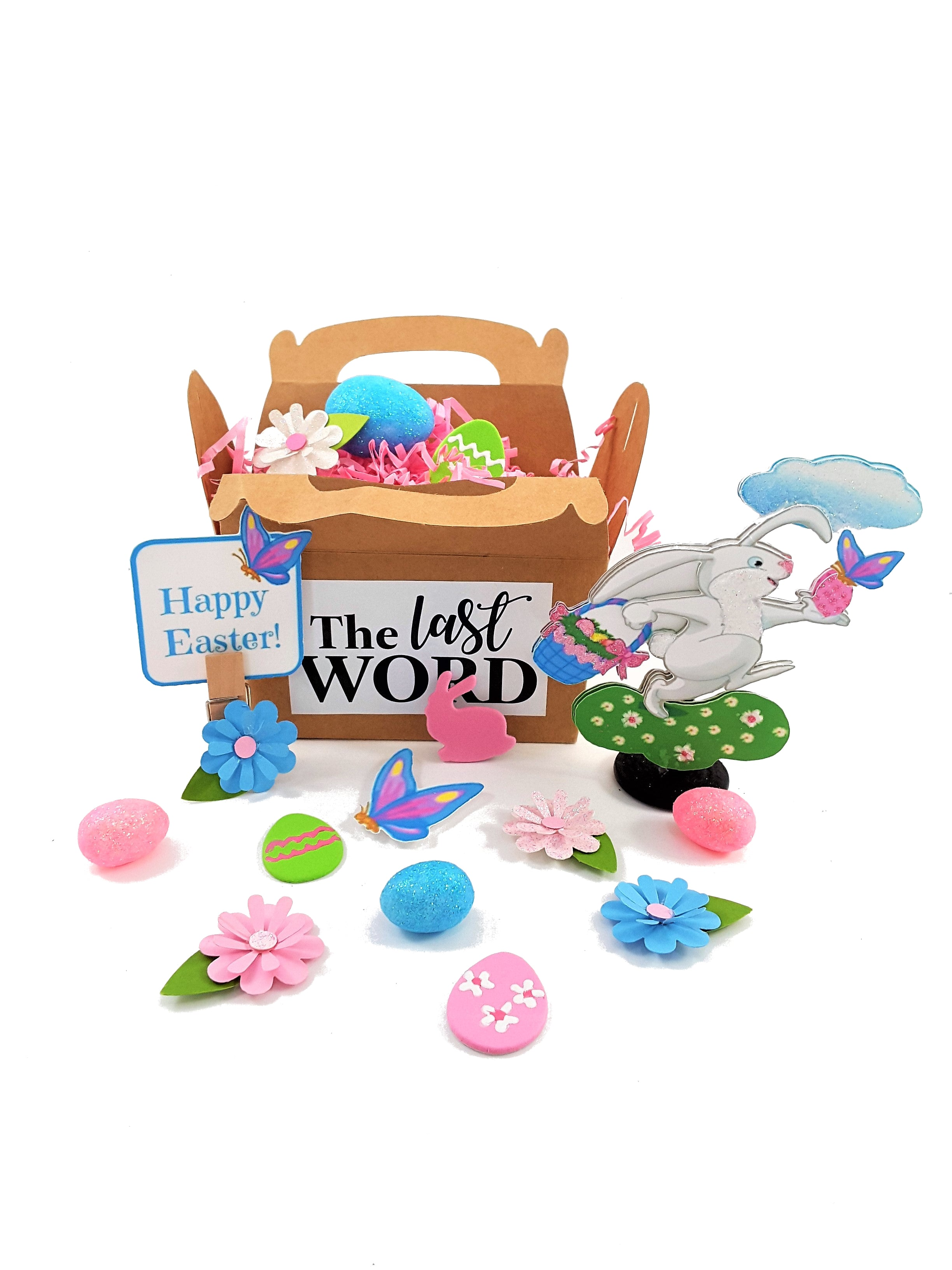3D Easter greeting card with goodies in a box
