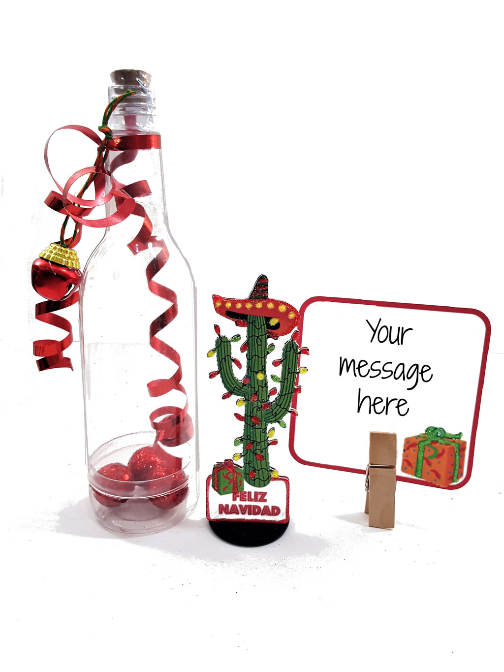 Christmas Cactus Message in a Bottle greeting card - TheLastWordBish.com