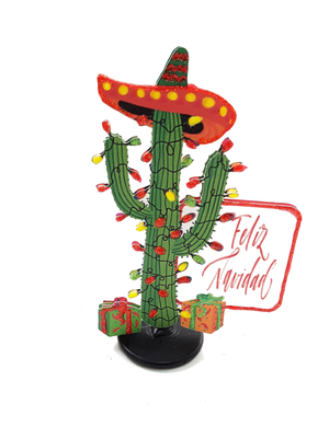 3D FELIZ NAVIDAD LIGHTED CHRISTMAS CACTUS GREETING CARD GIFT