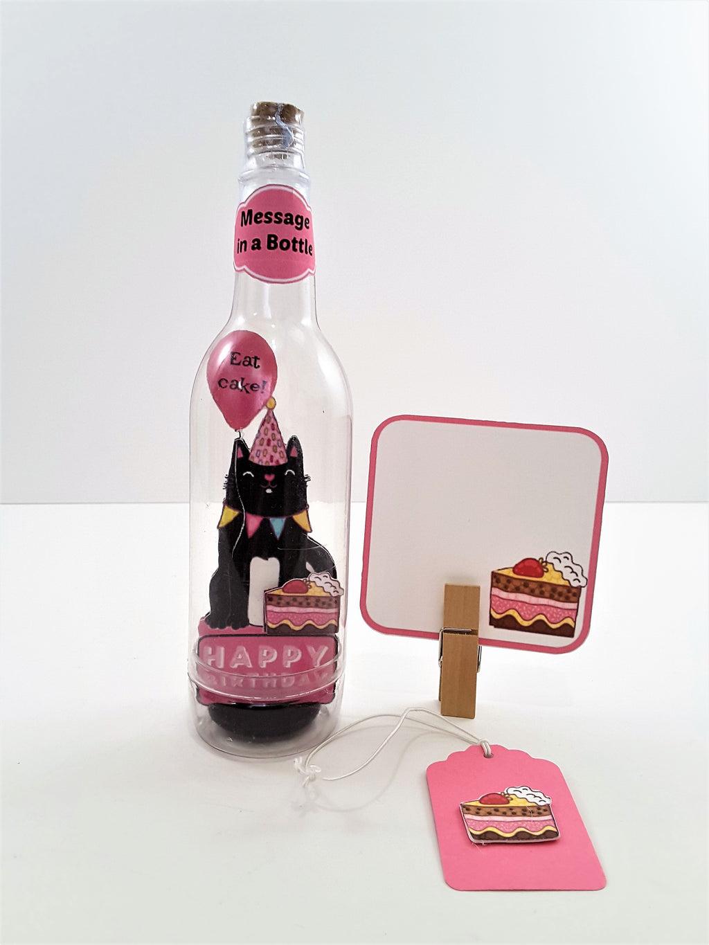 3D BIRTHDAY KITTY GREETING CARD MESSAGE IN A BOTTLE