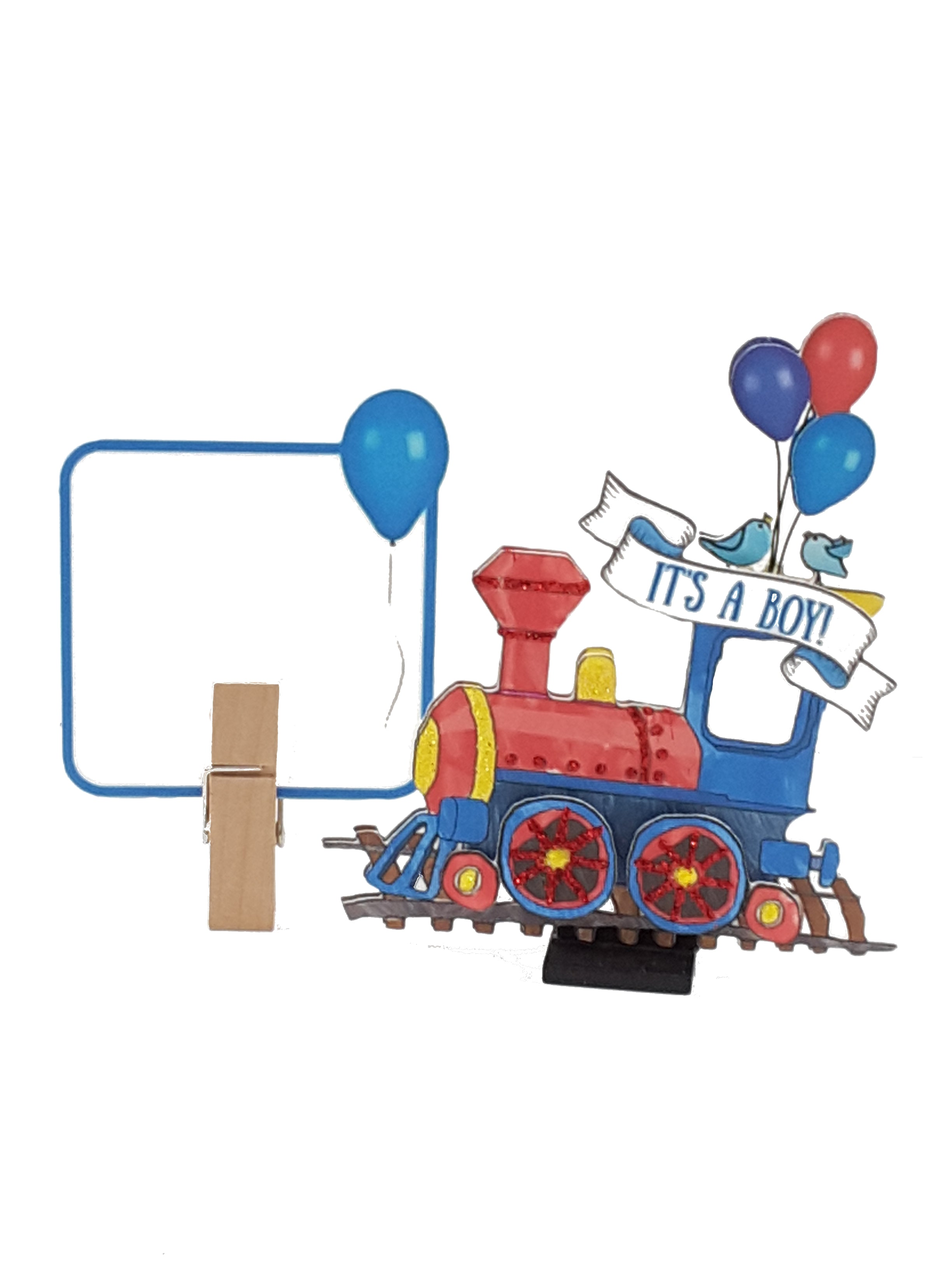 Personalized 3D card with train for newborn boy