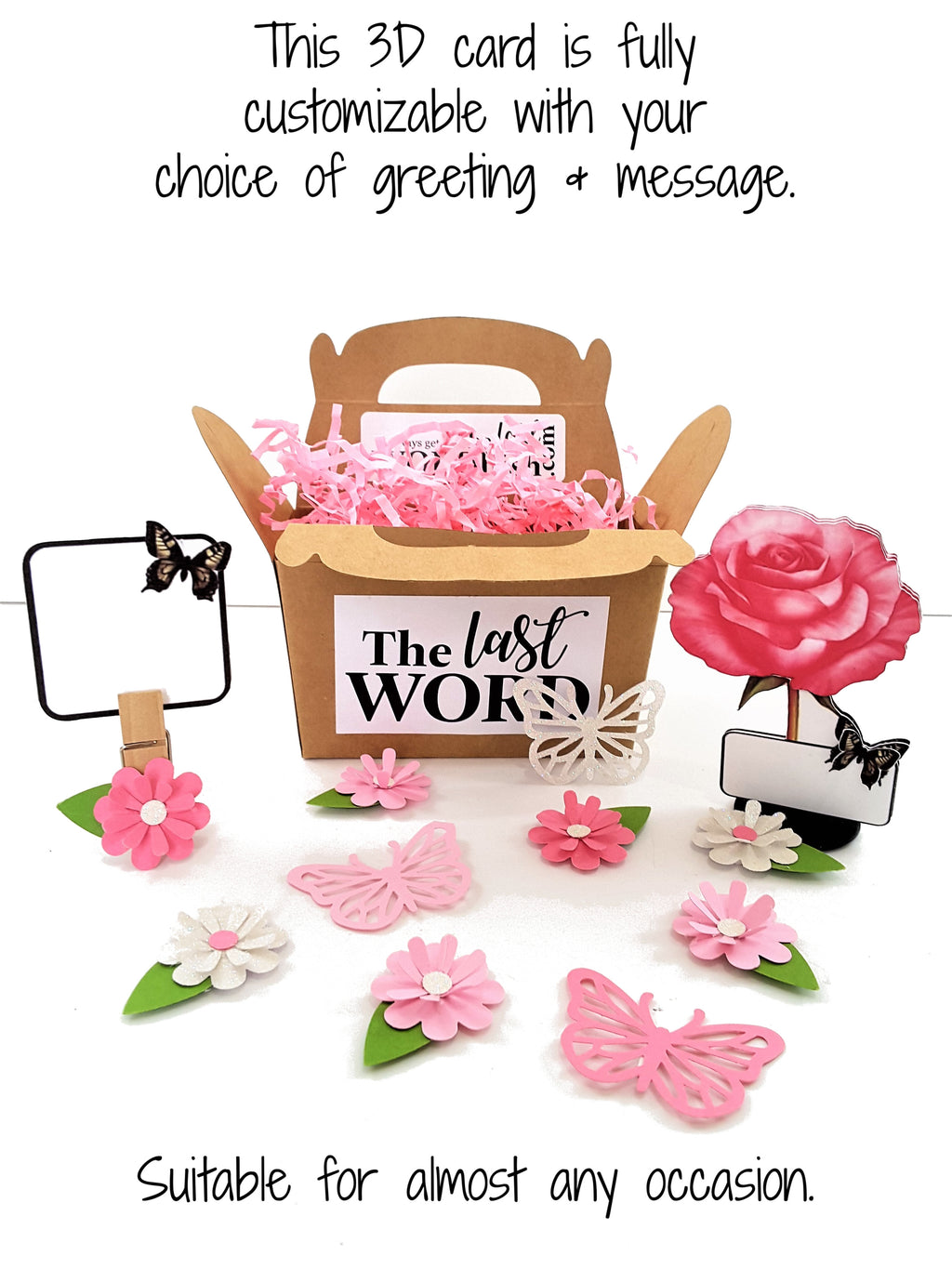 Pink Rose Personalized 3D All-Occasion Card - TheLastWordBish.com