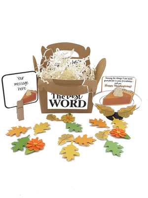 HAPPY THANKSGIVING PUMPKIN PIE 3D GREETING CARD GIFT - choice of three messages - TheLastWordBish.com