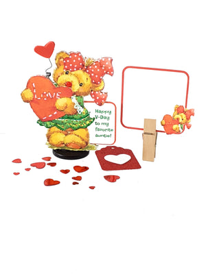 Valentine's Day Stand Up Greeting Card with Little Teddy Bear Girl - TheLastWordBish.com