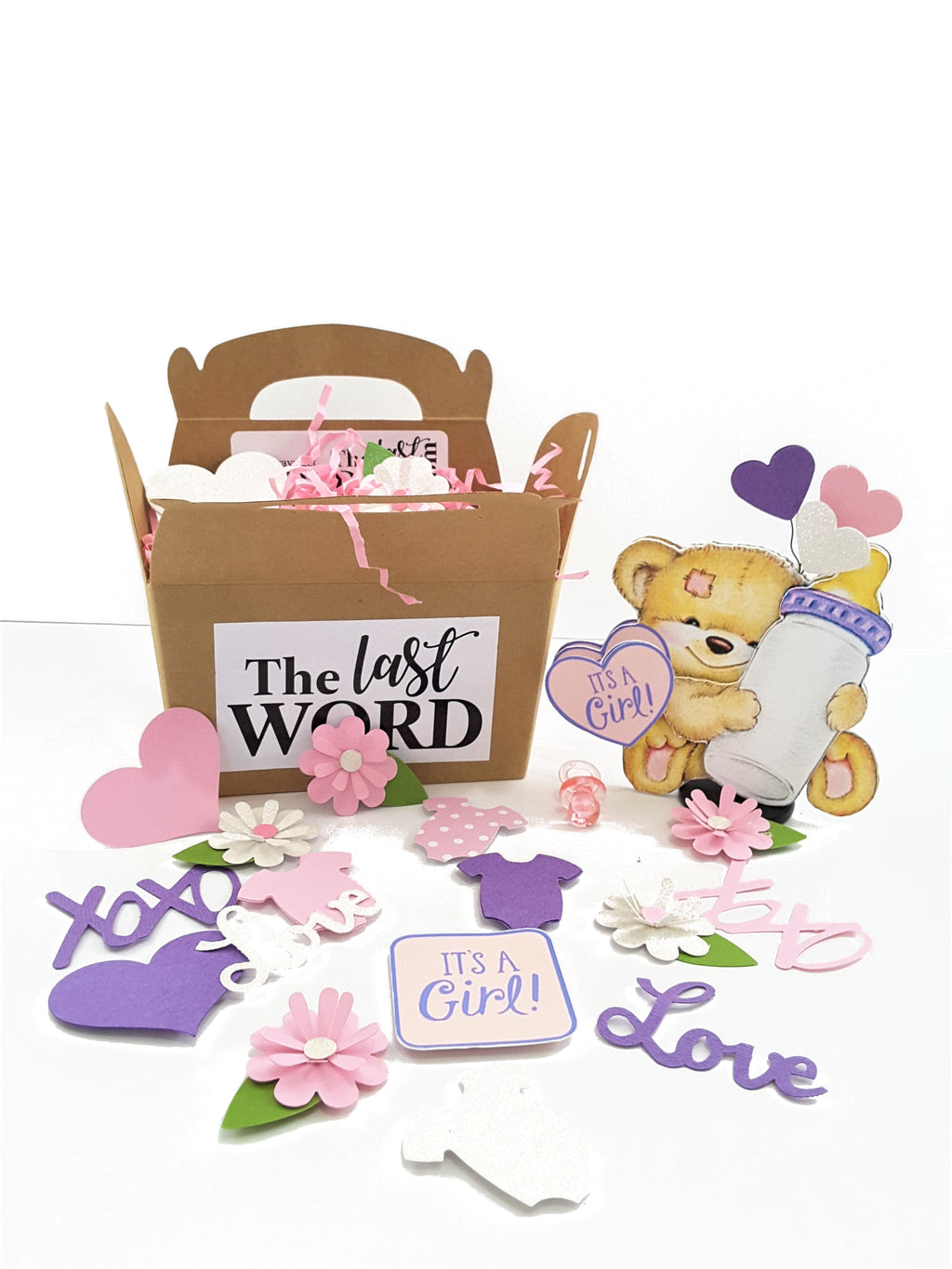 BABY GIRL CONGRATULATIONS OR BIRTH ANNOUNCEMENT 3D GREETING CARD GIFT