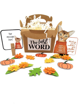HAPPY THANKSGIVING KITTY 3D GREETING CARD GIFT - THREE VERSIONS - TheLastWordBish.com