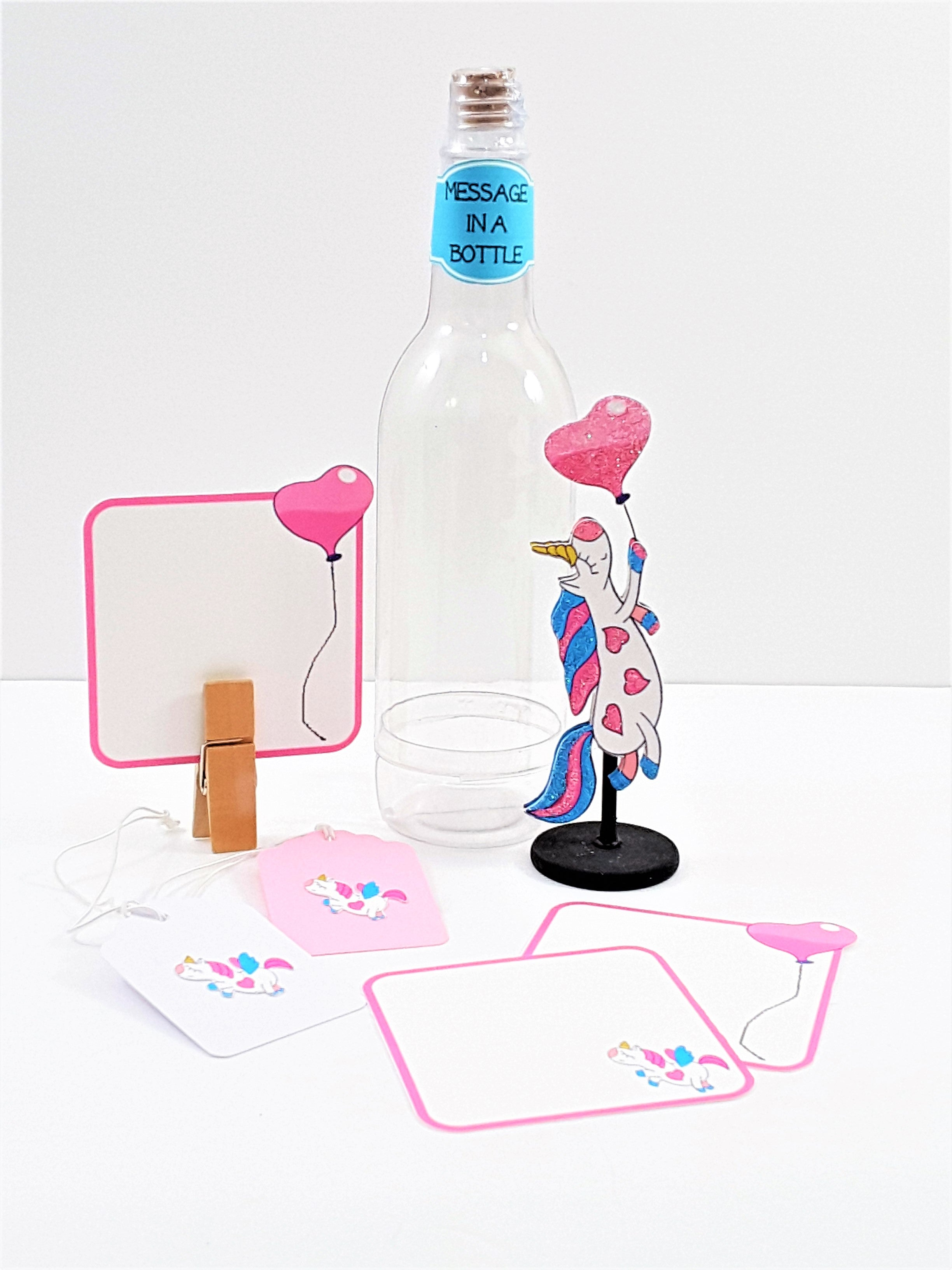 3D Personalized Gittered Unicorn Card Message in a Bottle - TheLastWordBish.com