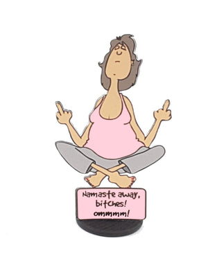 Yoga Lady Double-Handed Middle Finger Salute 3D All-Occasion Card - TheLastWordBish.com