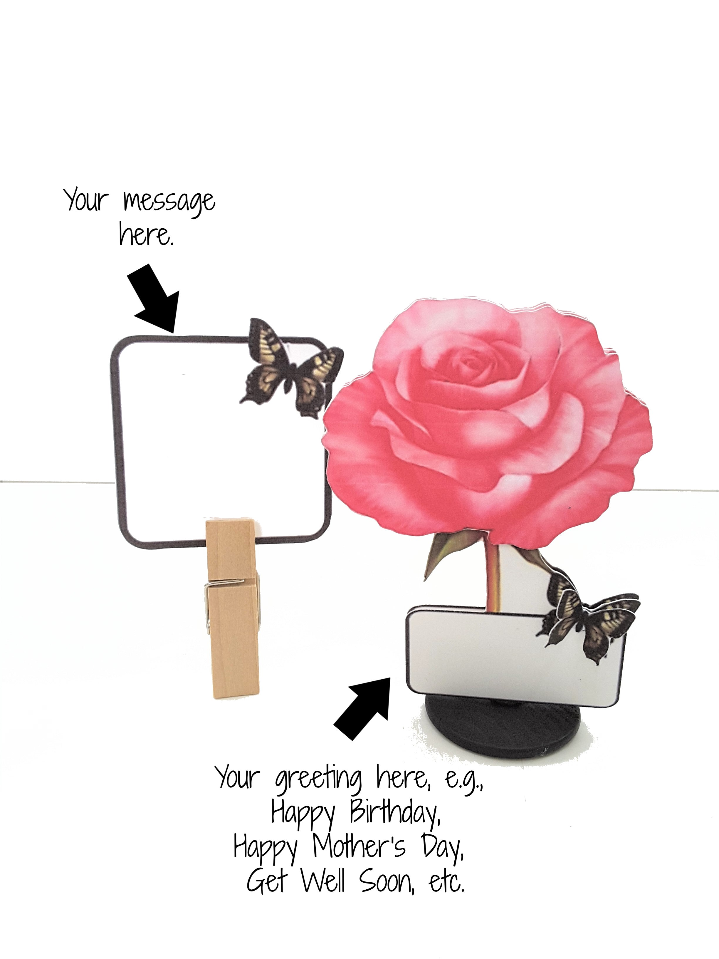 Pink Rose Personalized Stand Up All-Occasion Card - TheLastWordBish.com