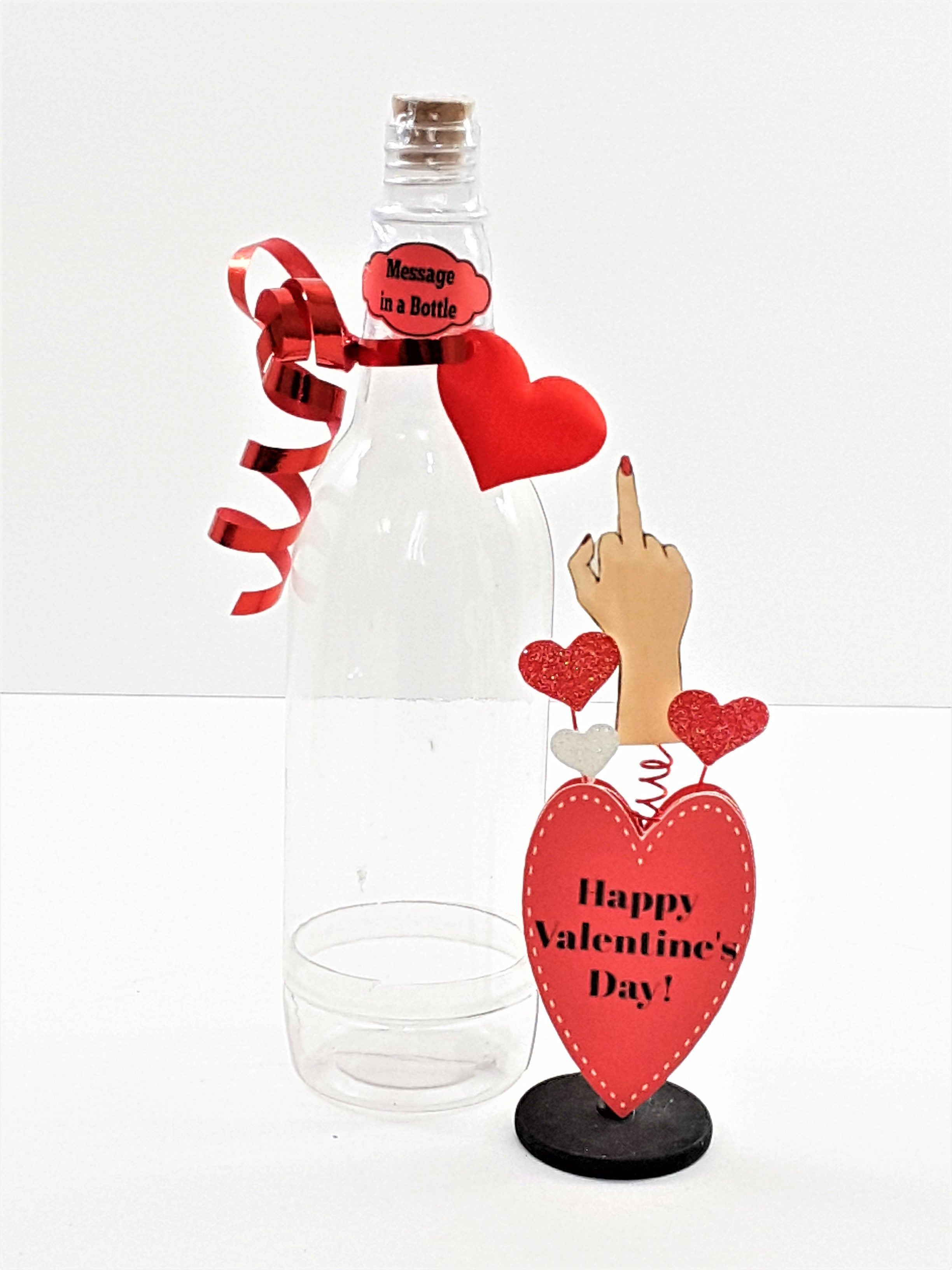 Message in a Bottle Valentine's Day 3D Card with Middle Finger Valentine Bouquet - TheLastWordBish.com