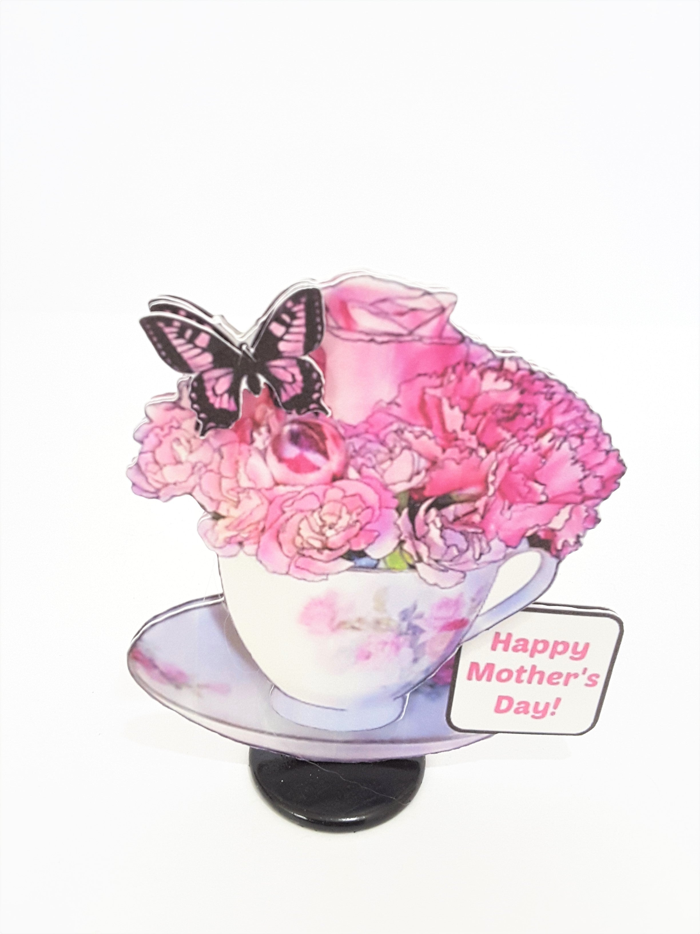 Happy Mother's Day 3D teacup of roses greeting card