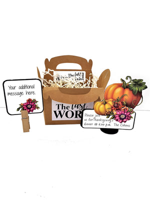Happy Thanksgiving Pumpkin Stand Up Invitation or RSVP with Gable Box - TheLastWordBish.com