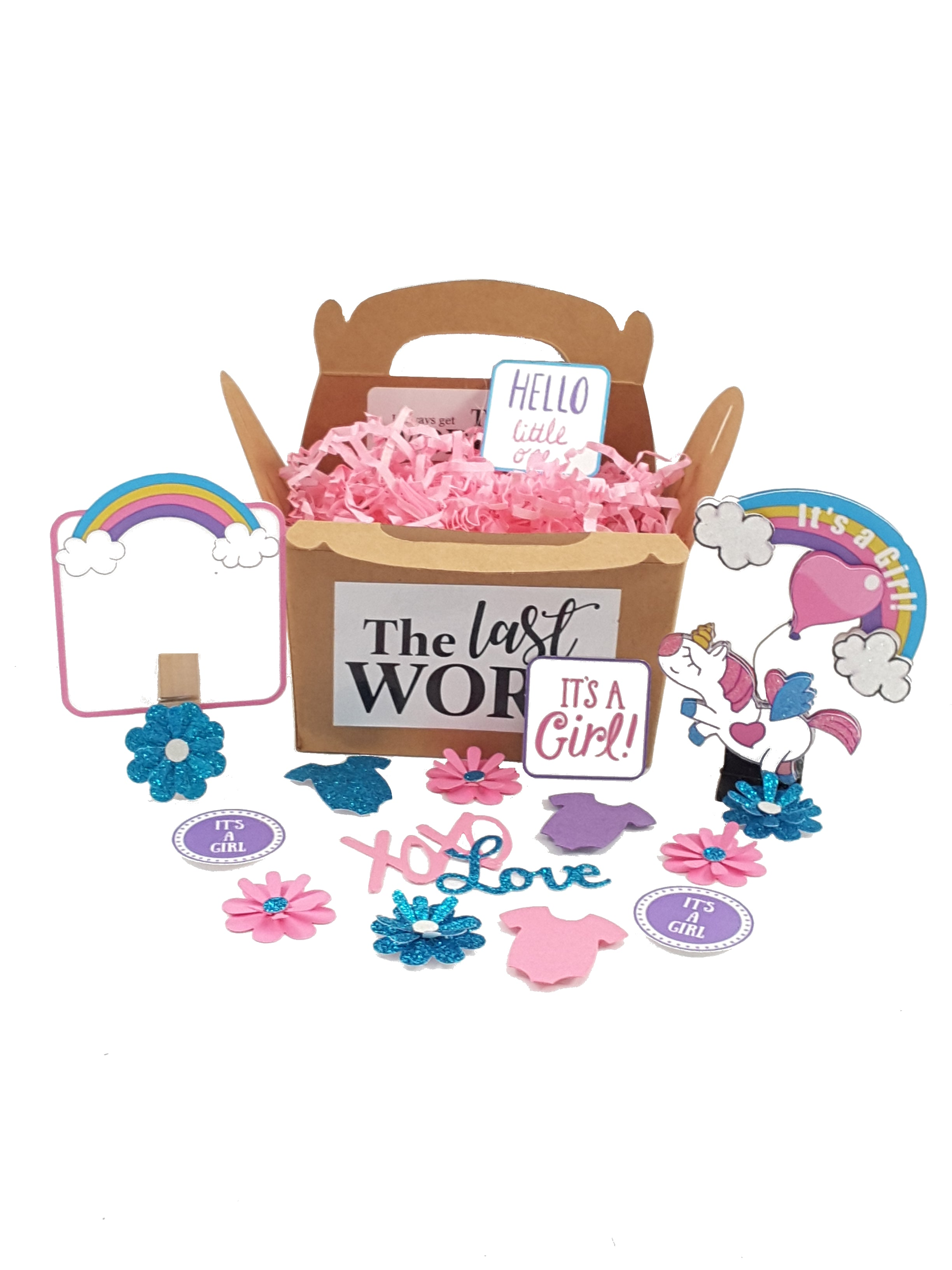 Personalized It's a Boy/It's a Girl Unicorn & Rainbow Stand-up Baby Card - TheLastWordBish.com