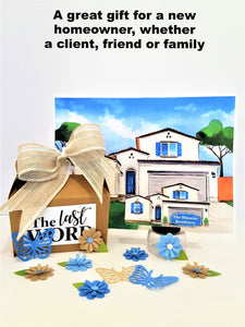 HOUSEWARMING GIFT OF WATER COLOR RENDERING & 3D GREETING CARD FIGURINE