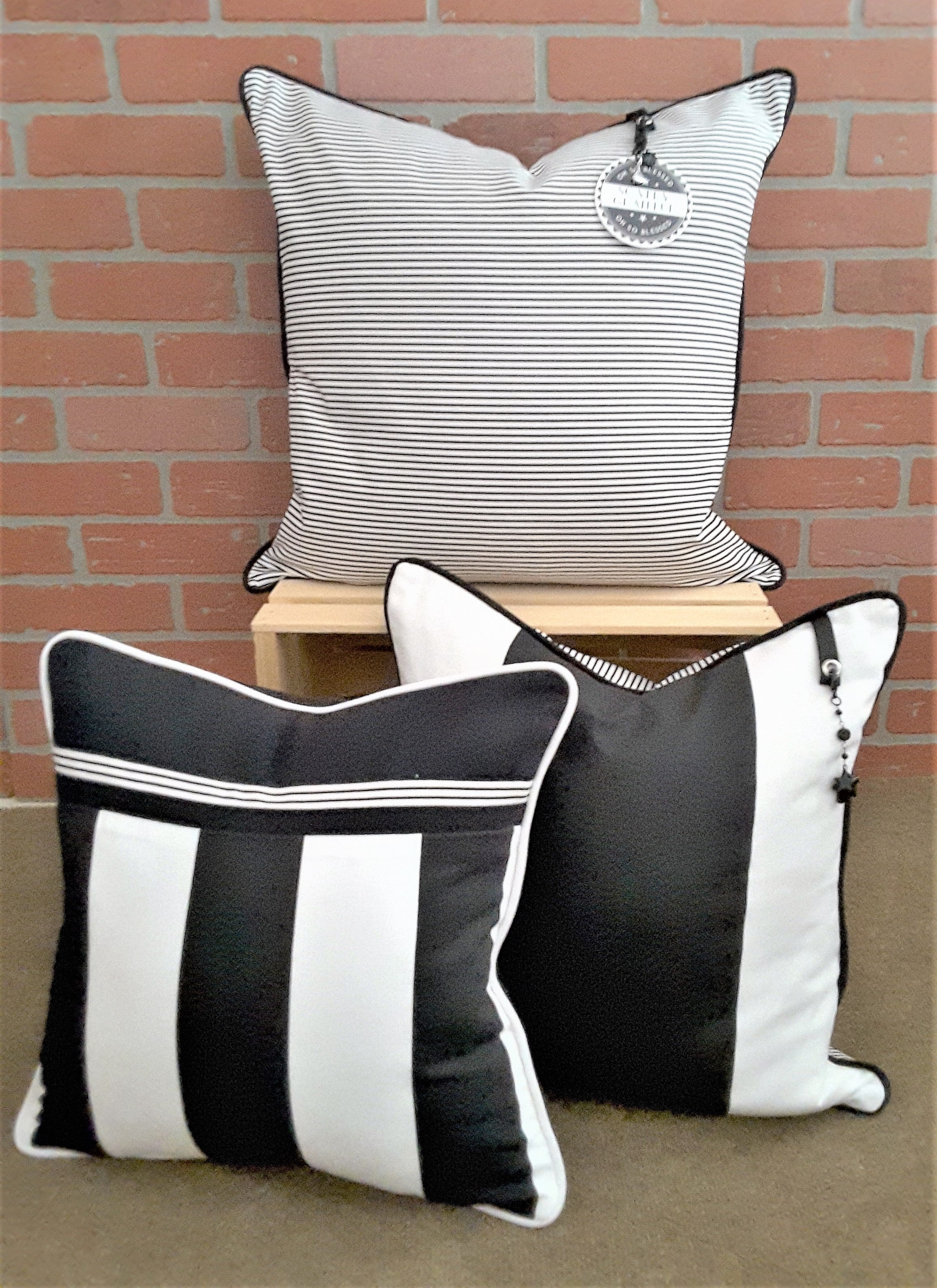 BLACK & WHITE STRIPE PILLOW COLLECTION BY ALEXANNDRA CARINGTON