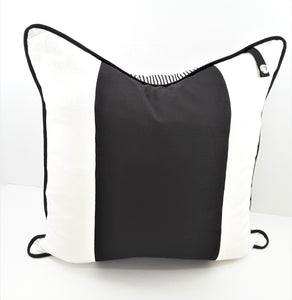 3-STRIPE BLACK & WHITE PILLOW W/TAB FOR PILLOW CHARM