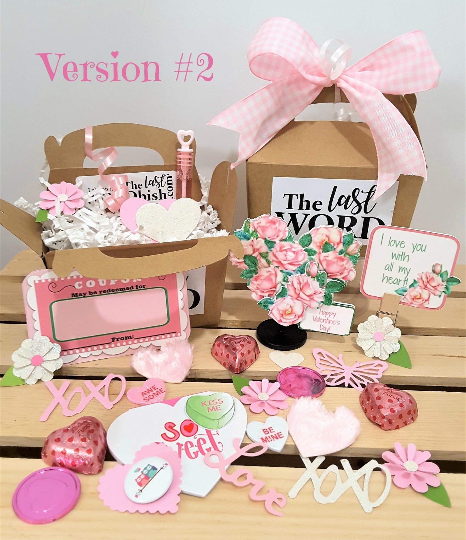 VALENTINE'S DAY PINK FLORAL HEART 3D GREETING CARD GIFT - 2 VERSIONS