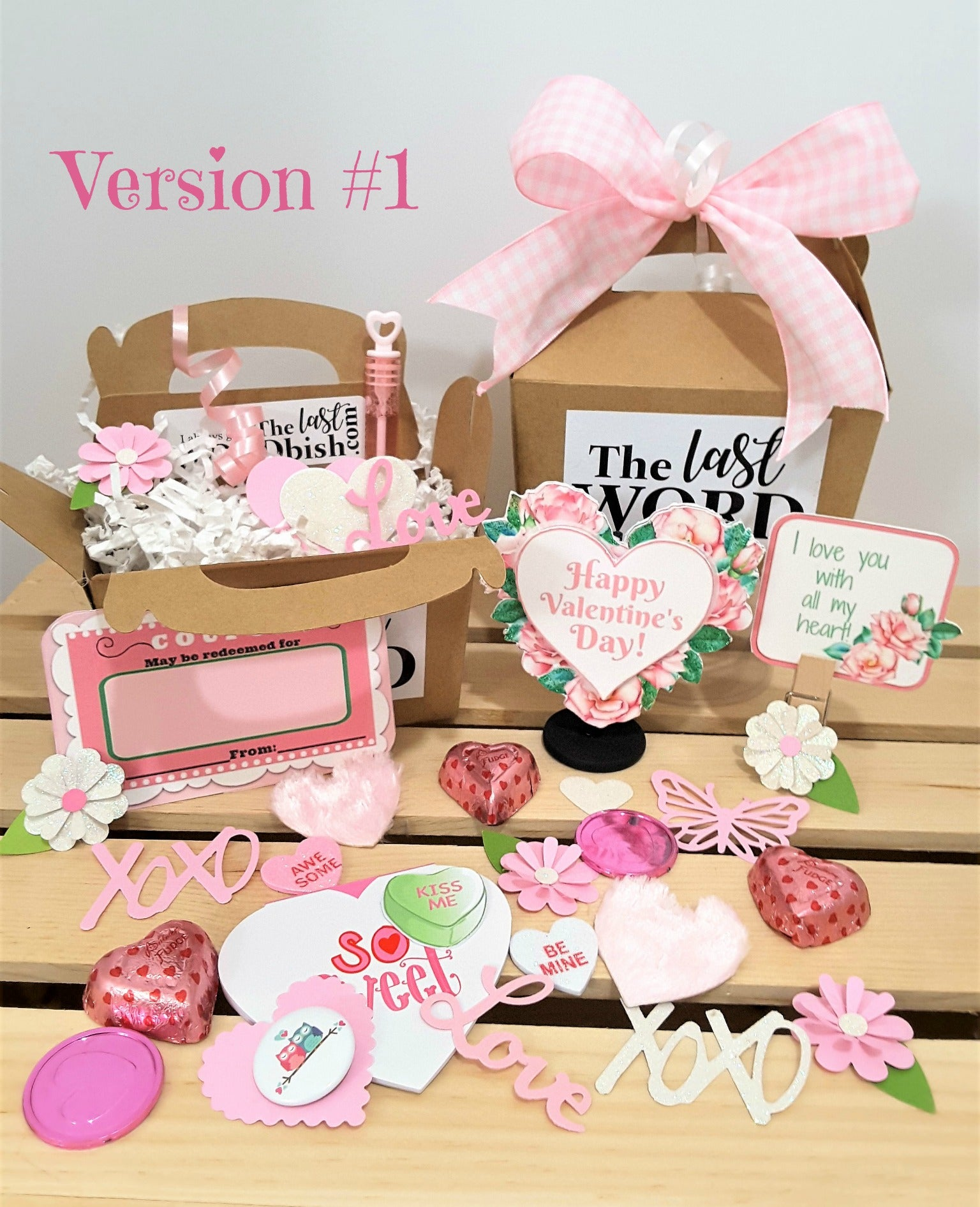 Valentine's Day Stand Up Greeting Card with Pink Rose Bordered Heart - with goodies! - TheLastWordBish.com