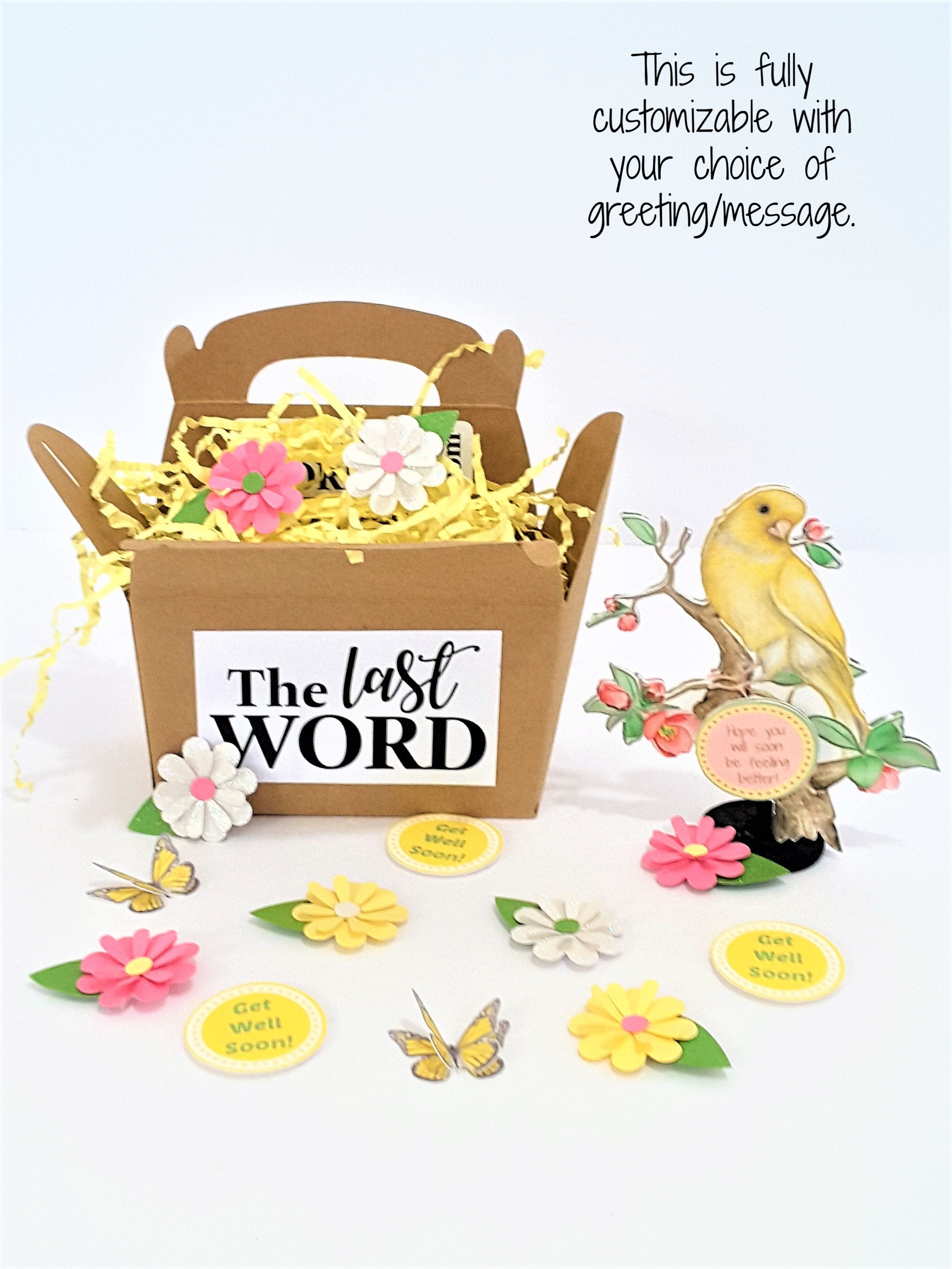 3d yellow canary perched on a flowering tree branch greeting card gift