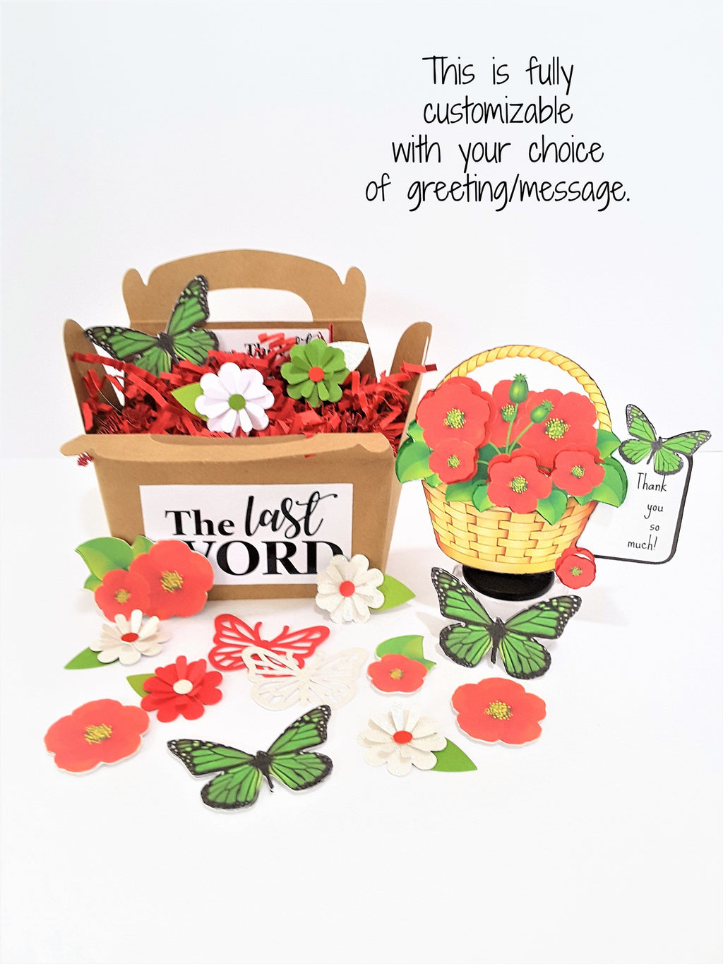 BASKET OF RED FLOWERS 3D GREETING CARD GIFT - your choice of captions