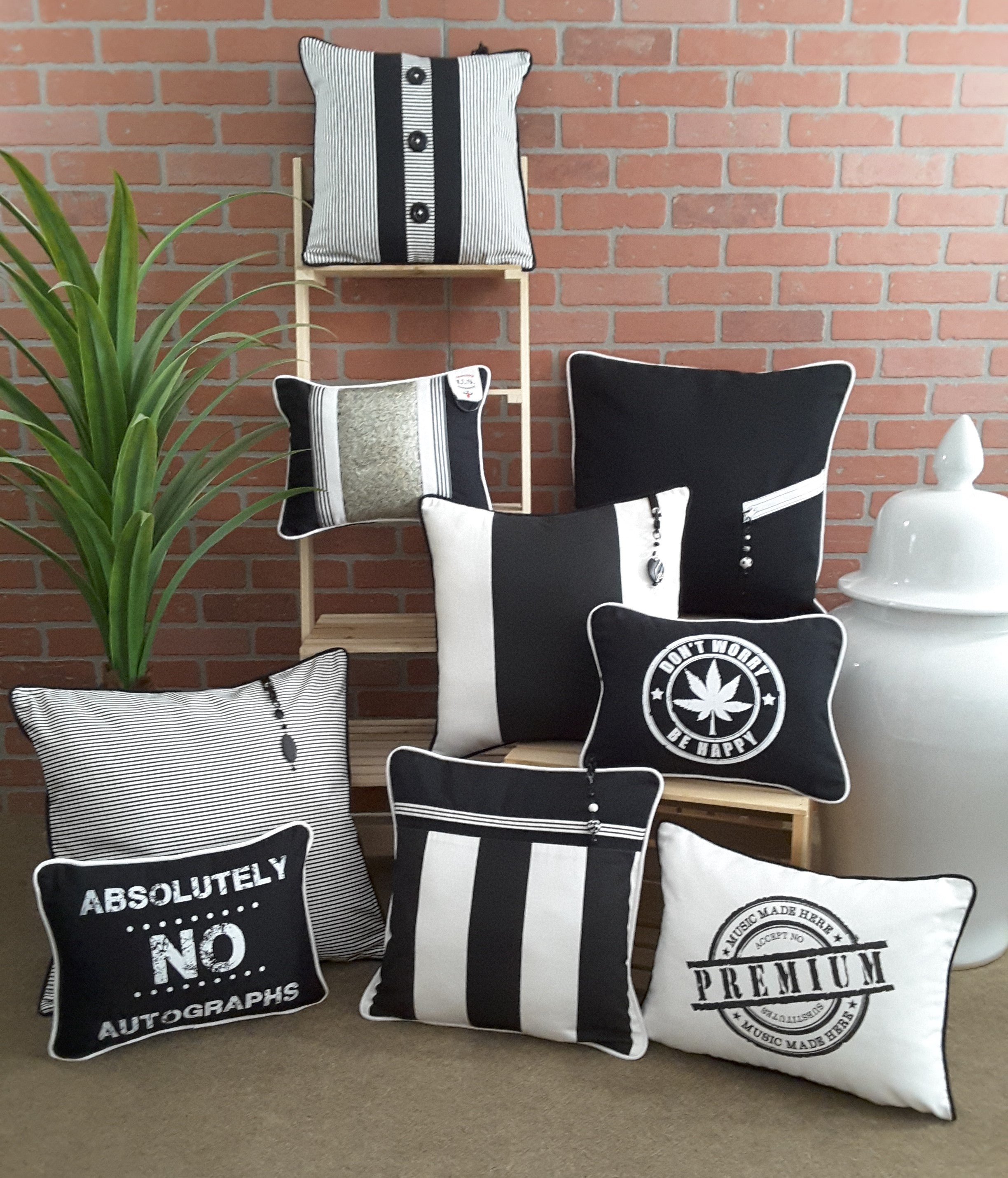 COLLECTION OF ALEXANNDRA CARINGTON BLACK & WHITE PILLOWS