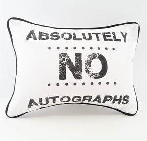No Autographs Silk Screened Denim Pillow with pocket