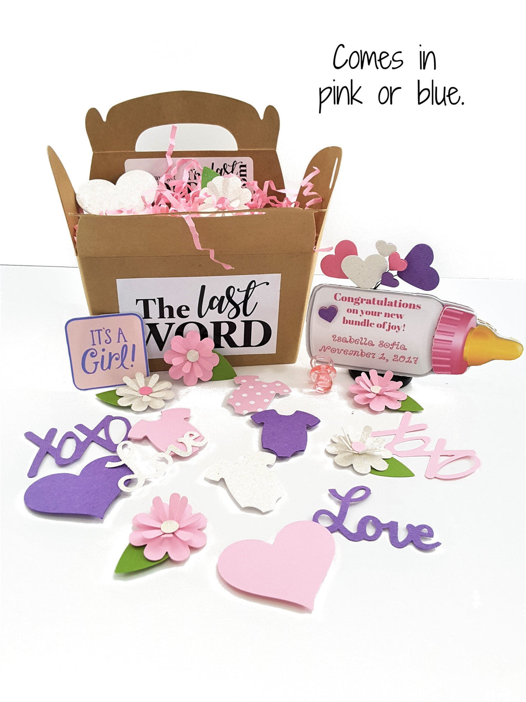 Baby Announcement or Congratulations Personalized Baby Bottle 3D Card for Boy or Girl - TheLastWordBish.com