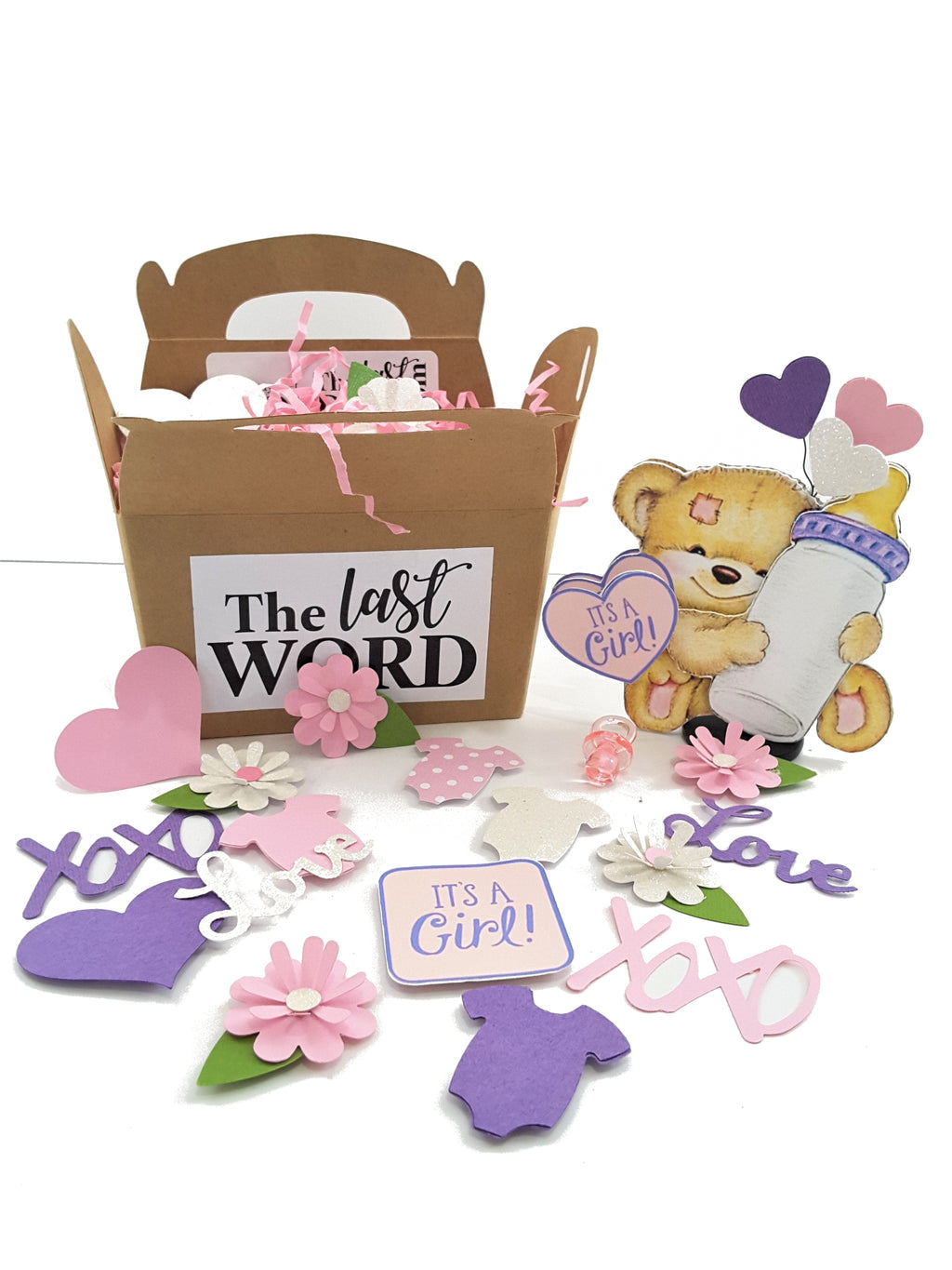 3D BABY GIRL TEDDY BEAR BIRTH ANNOUNCEMENT OR CONGRATULATIONS