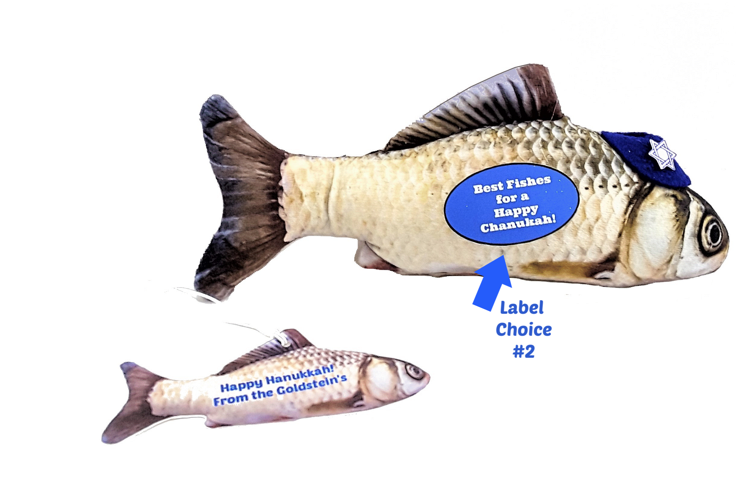 "Happy Hanukkah Best Wishes with Fishes Personalized 3D ""Card"""