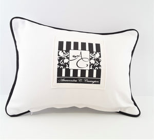 back of white Absolutely No Autographs pillow with pocket