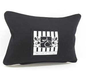 back of PREMIUM MUSIC MADE HERE pillow in black