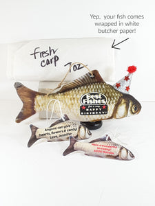 "Best Wishes with Fishes Stand Up Stuffed Carp All-Occasion ""Card"" - TheLastWordBish.com"