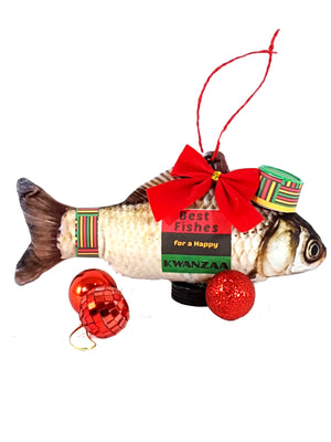 Best Wishes with Fishes for a Happy Kwanzaa Greeting Card, Gift, Ornament, Keepsake - TheLastWordBish.com