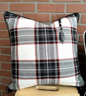"Black/White/Red Plaid Denim Pillow Cover - 20""x20"""