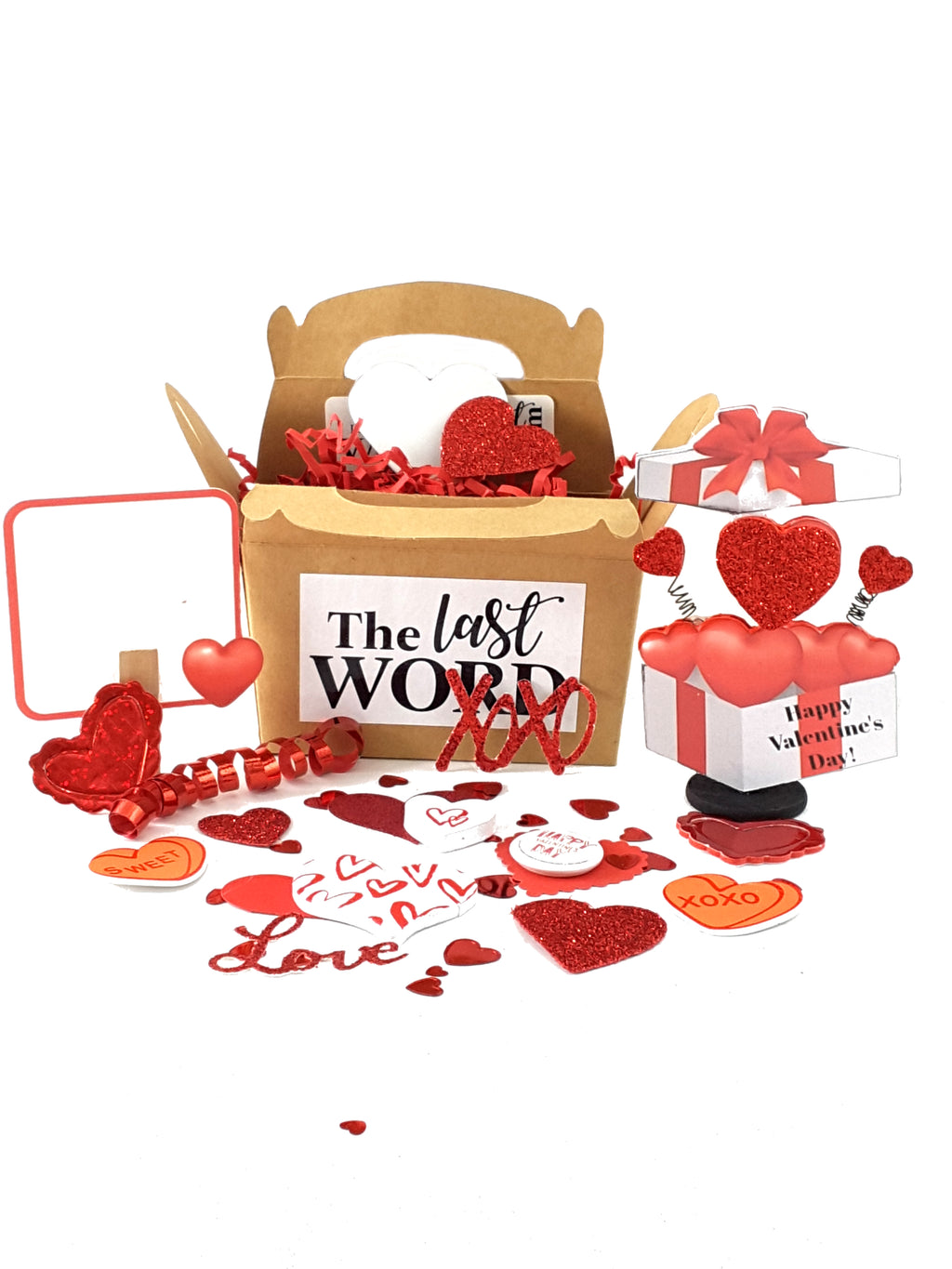 Valentine's Day 3D Card with Box of Hearts - TheLastWordBish.com