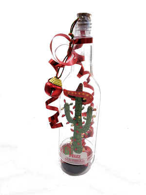 3D MESSAGE IN A BOTTLE 3D CHRISTMAS CACTUS GREETING CARD